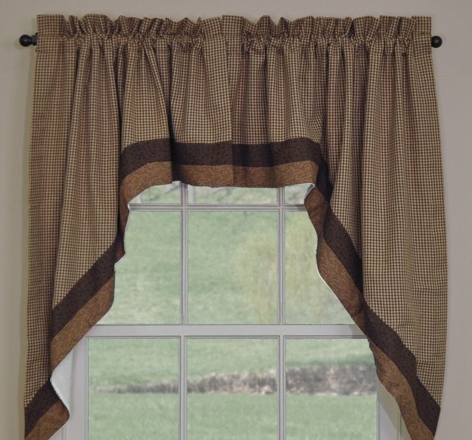 Shades Of Brown Lined Swag By Park Designs Swag Curtains Brown Curtains Curtains