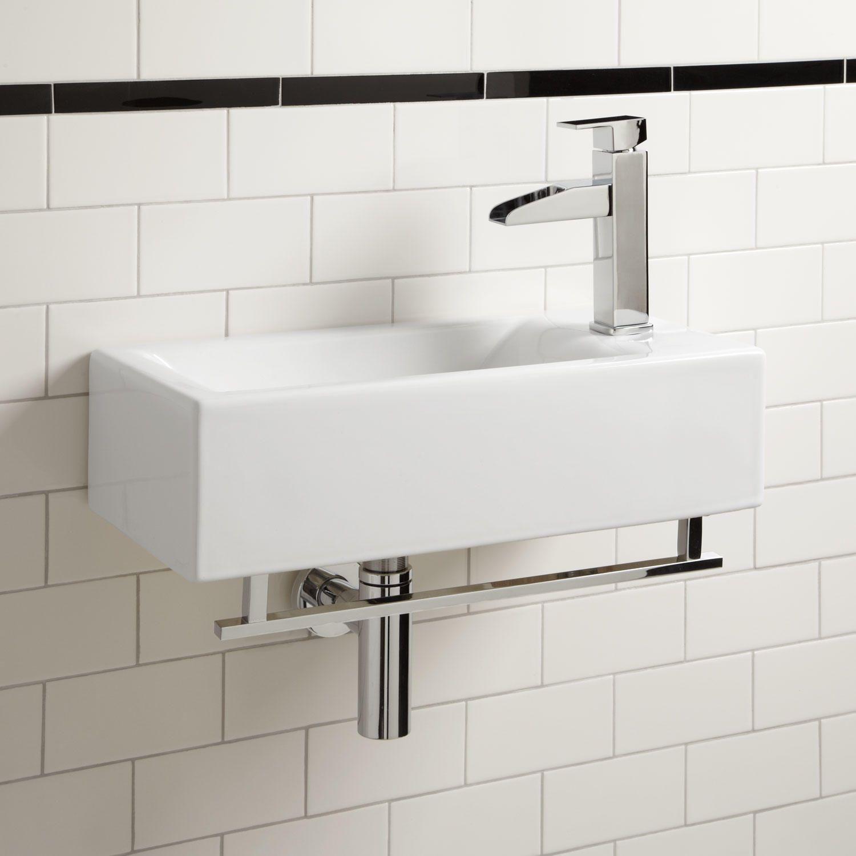 Alia Wall Mount Sink With Chrome Towel Bar Wall Mount Sinks Bathroom Sinks Bathroom Small Bathroom Sinks Wall Mounted Sink Wall Mounted Bathroom Sinks