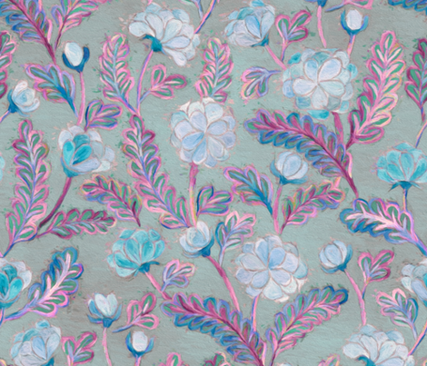 Soft Smudgy Blue and Purple Floral Pattern Large by micklyn