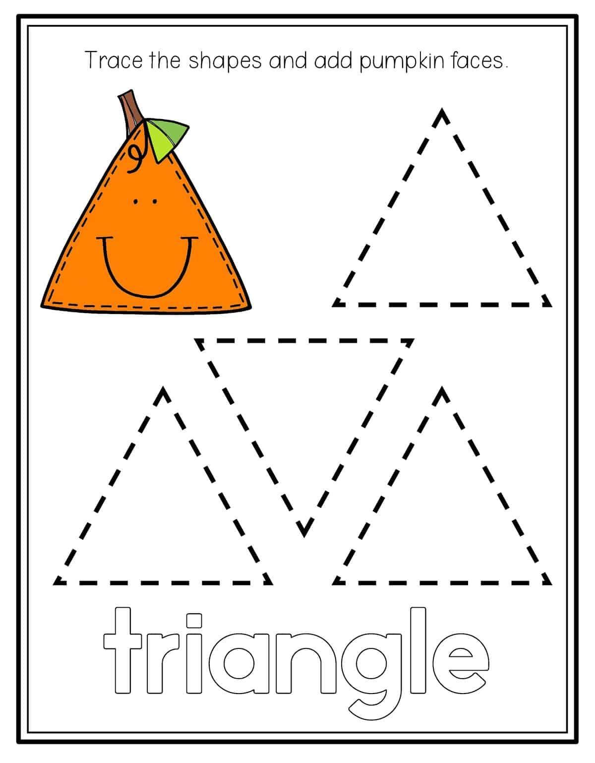 Pumpkin Shape Tracing   Tracing worksheets preschool ...