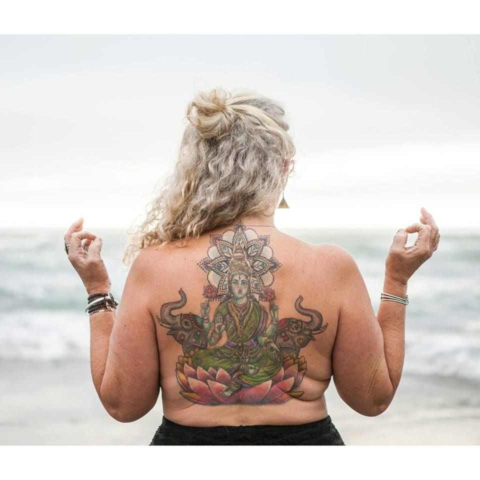 "Lakshmi is the goddess of love, beauty, and wealth. Lisa ""Lakshmi"" Wade; see her tattoo of Lakshmi on her back in the photo above ( ! ), Certified Yogastrologer® of Roanoke, Virginia will lead this Yoga + Astrology = Yogastrology® Workshop for the New Moon in Taurus, ruled by love-goddess Venus. Venusian vibes will flow... More details coming soon."