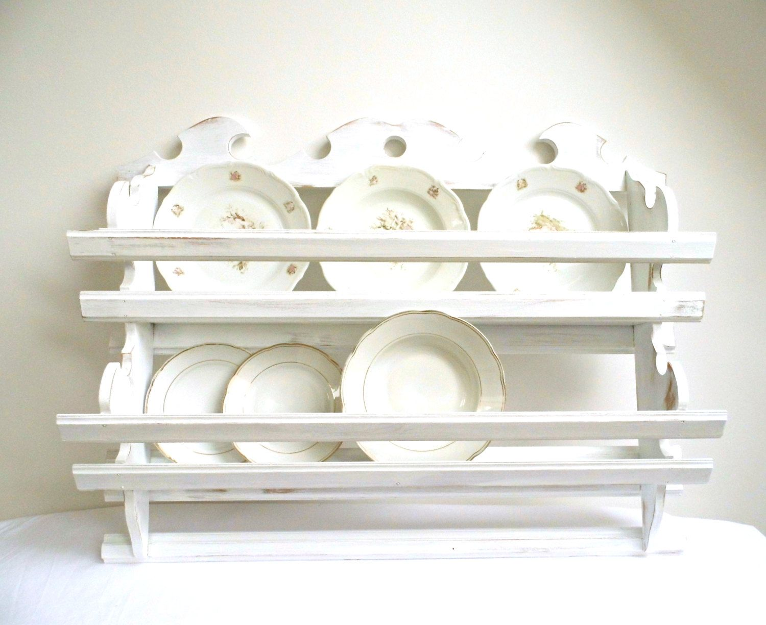 Vintage Plate Rack Wall Holder Tea Cup Shelf Storage Kitchen ...