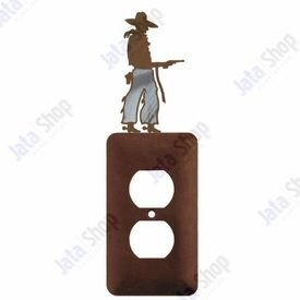 Cowboy with Pistol Single Metal Outlet Cover
