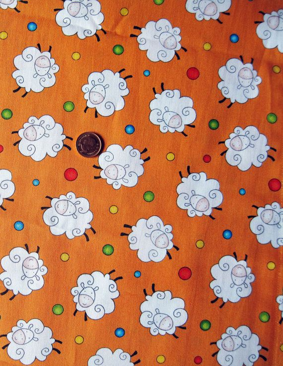 Sheep Print Fabric  Orange  Fat Quarter  18  x by Sheepinspiration
