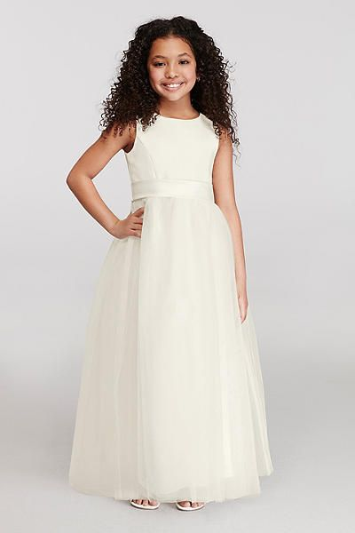 8a2e9c1ca3a Satin Flower Girl Dress with Tulle Skirt. Classic Flower Girl or Communion  dress style.