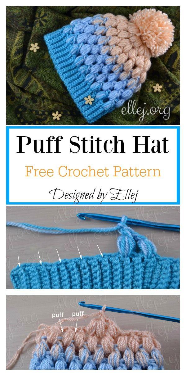 Puff Stitch Hat Free Crochet Pattern | Crochet | Pinterest