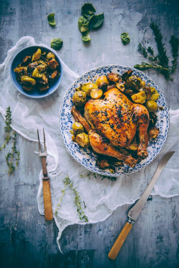 Roast Chicken With Brussels Sprouts Recipe Savoury Pinterest
