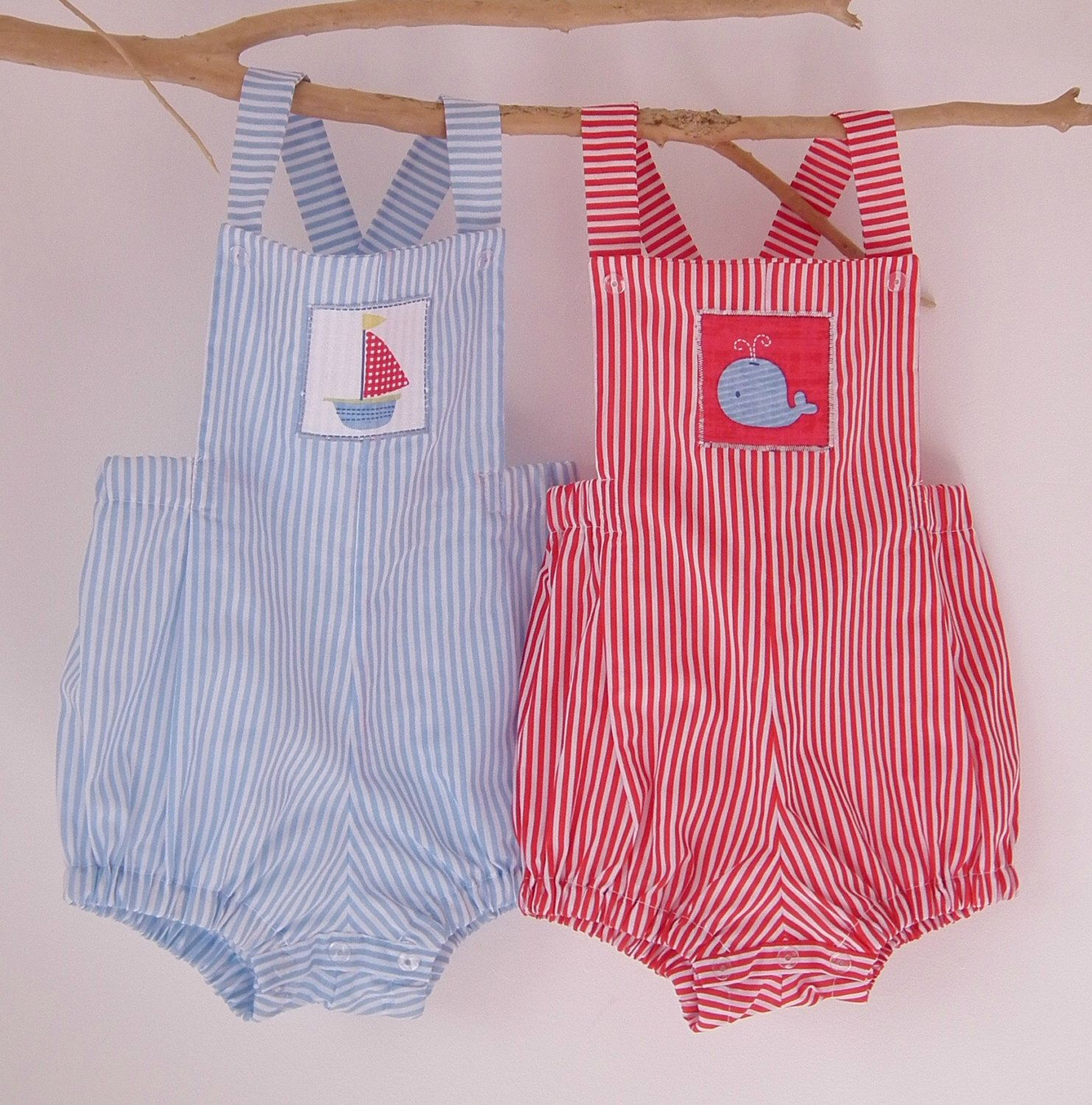 Baby Boy Rompers Baby Boy Clothing Blue Red Stripe Romper Sailboat