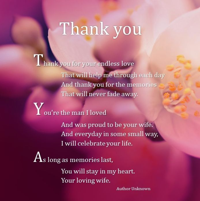 Thank you for your endless love.. Your loving Wife. | Funeral ...