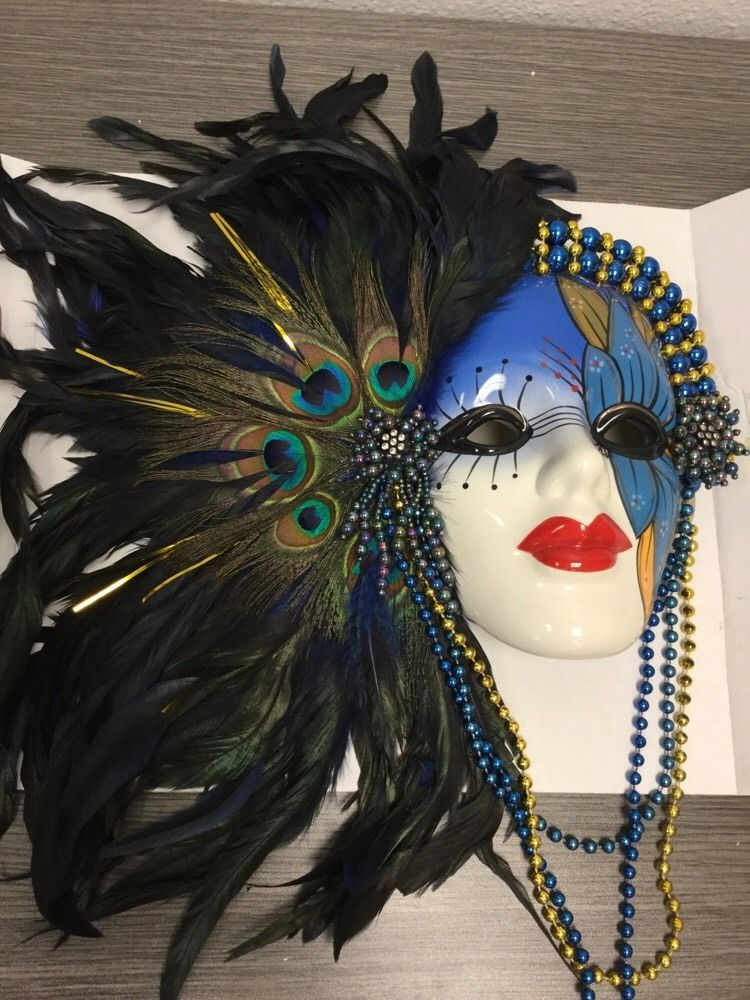 Wall Mask Decor Endearing New Mardi Gras Type Wall Mask Decor Beads And Peacock Feathers Inspiration Design