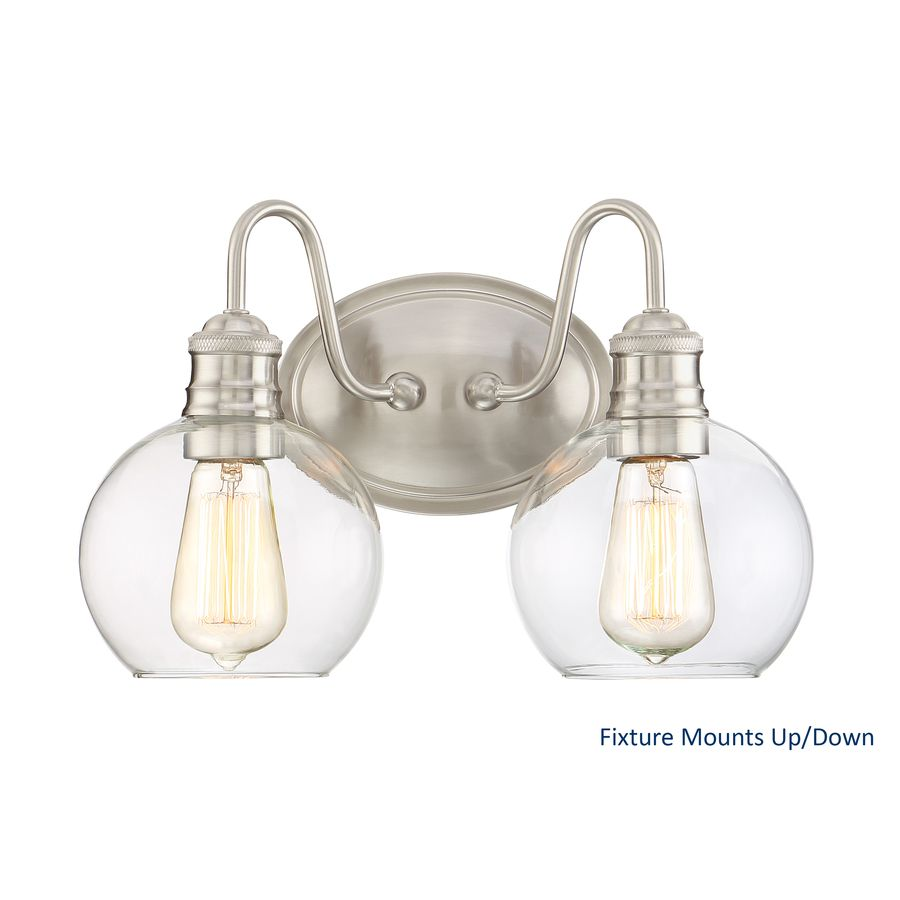 Quoizel Bathroom Light Fixtures lowe's ($68) quoizel soho 2-light 9.5-in brushed nickel globe