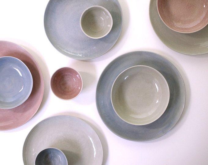 Steinzeug Teller Set In Violett Rosa Grau Schalen Suppenschalen Keramikteller