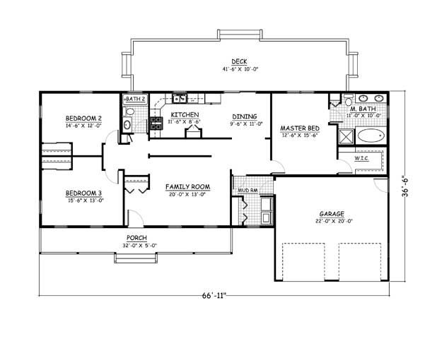 Plan 501 01 3 Bedroom 2 Bath 1564 Sqft Country Home Diy House Plans House Floor Plans Free House Plans
