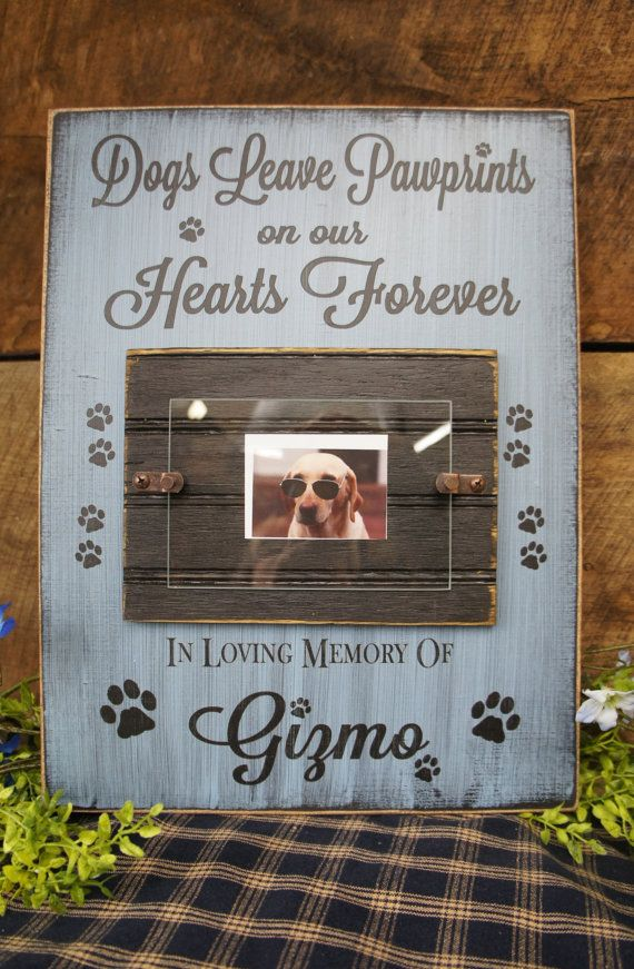 Dog Memorial Picture Photo Frame Dogs Leave Pawprints on our Hearts ...