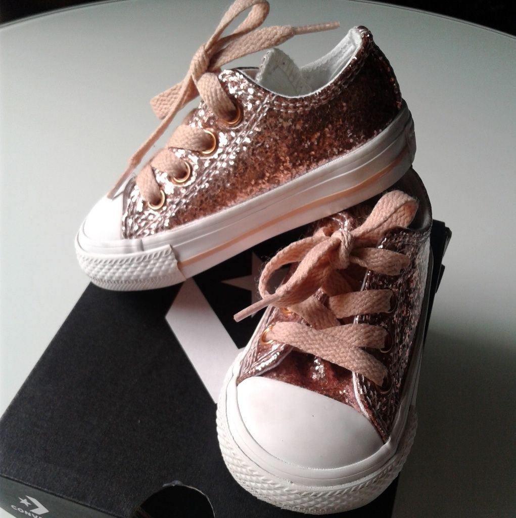Converse Shoes | Rose Gold Blush Glitter Baby Girl Converse