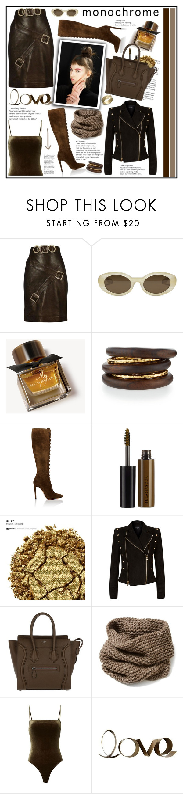 """""""One Color, Head to Toe"""" by cindy88 ❤ liked on Polyvore featuring Chanel, Elizabeth and James, Burberry, NEST Jewelry, Gianvito Rossi, Illamasqua, Urban Decay, Balmain, CÉLINE and Lafayette 148 New York"""