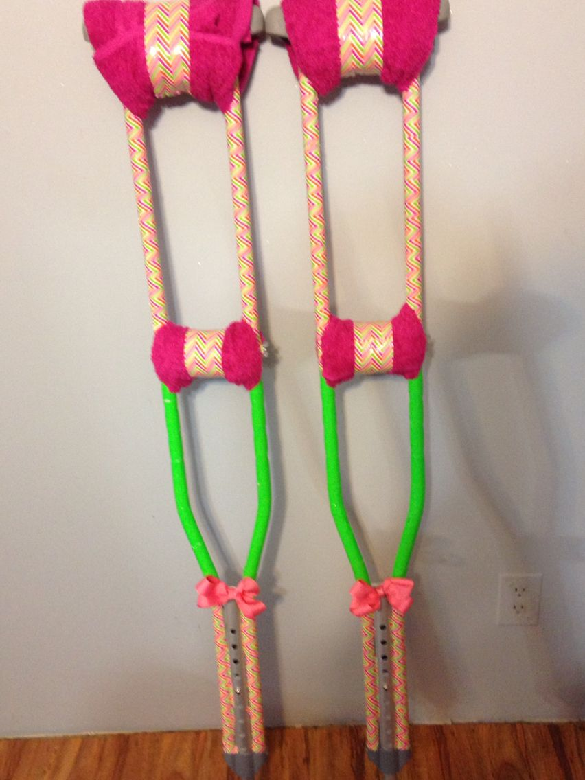 The Crutches I Decorated So That I Would Be More Comfortable After Surgery Crutches Diy Decorated Crutches Crafts