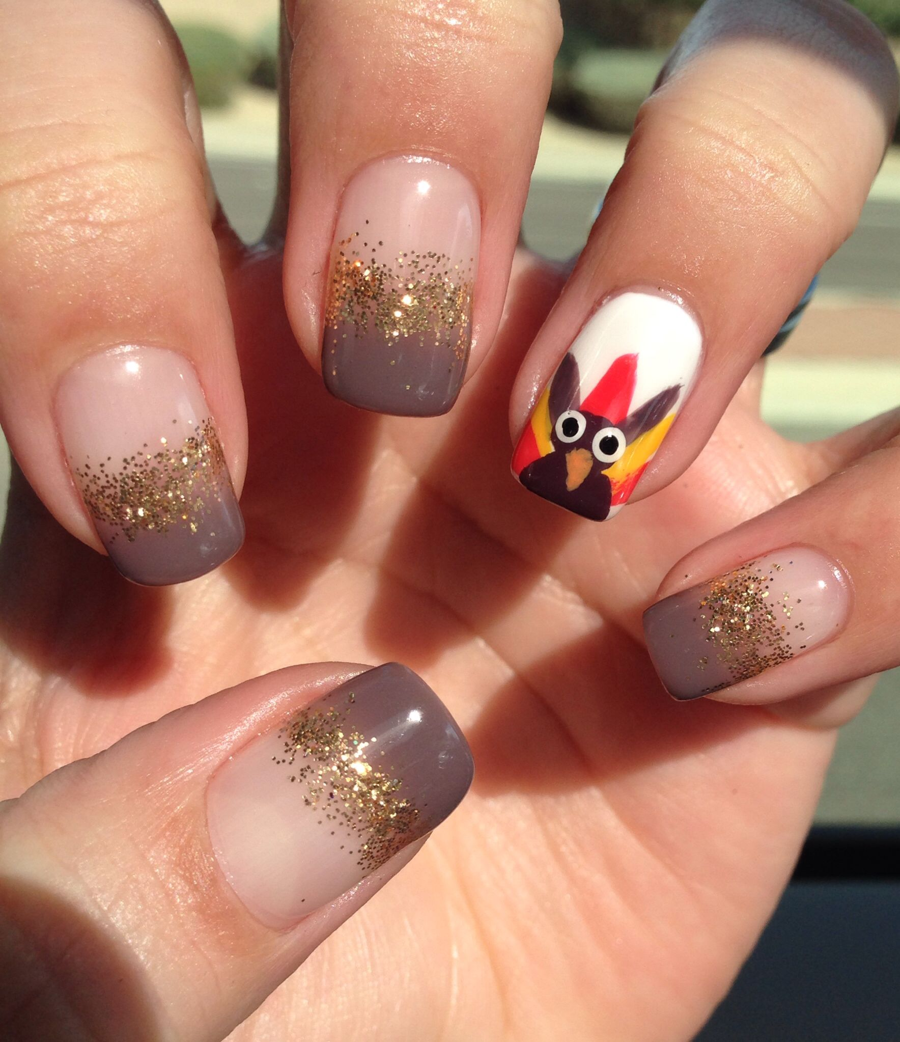 Gel nail art, turkey,thanksgiving nail art. gobble gobble