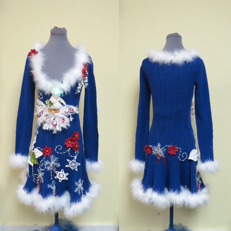 Royal Blue Skater Sweater Dress Elegant Mrs Claus Evening Wear