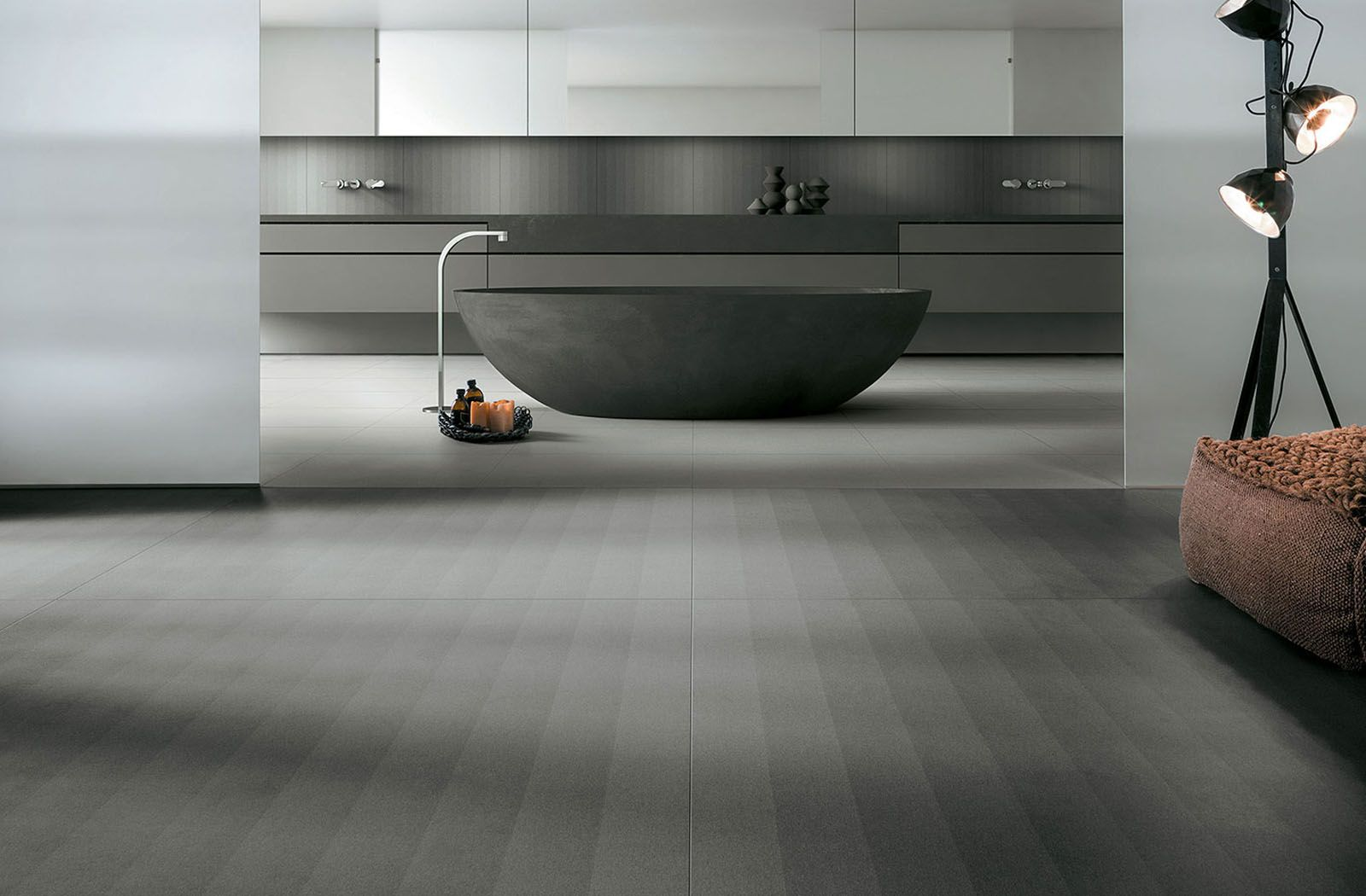 Dark Elegant Ombre Bathroom Floor From Transition Tile Collection