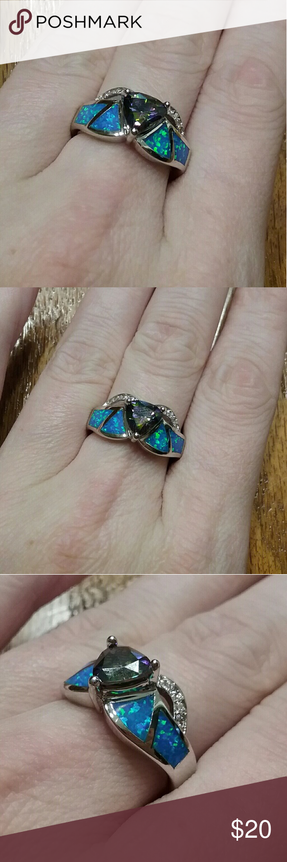 Mystic topaz blue fire Opal size 7 ring marked 925 Brand new Jewelry Rings