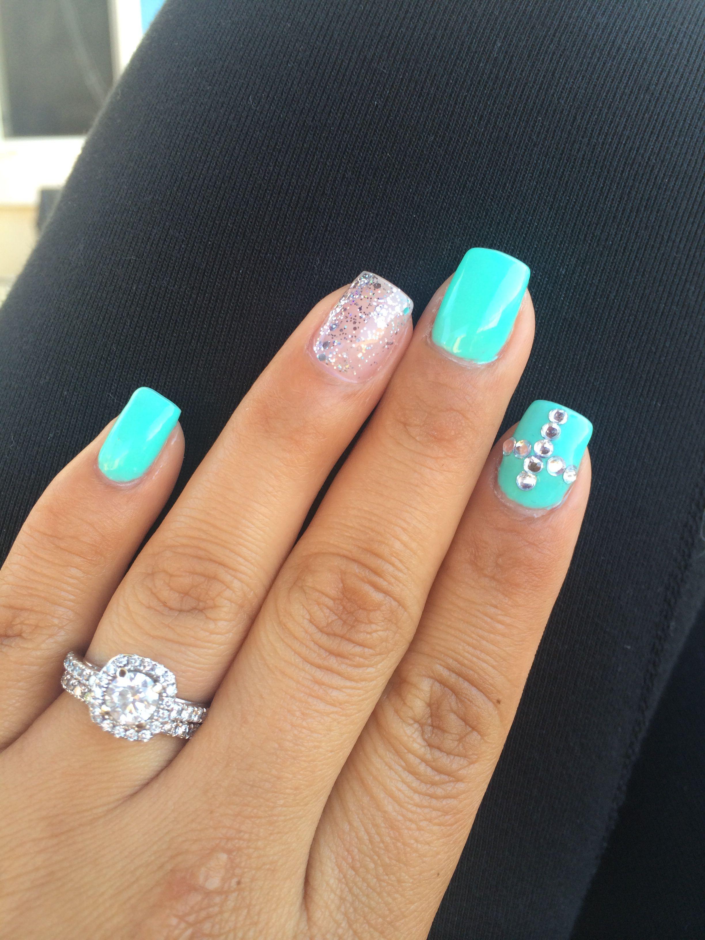 inspired gel nails. teal