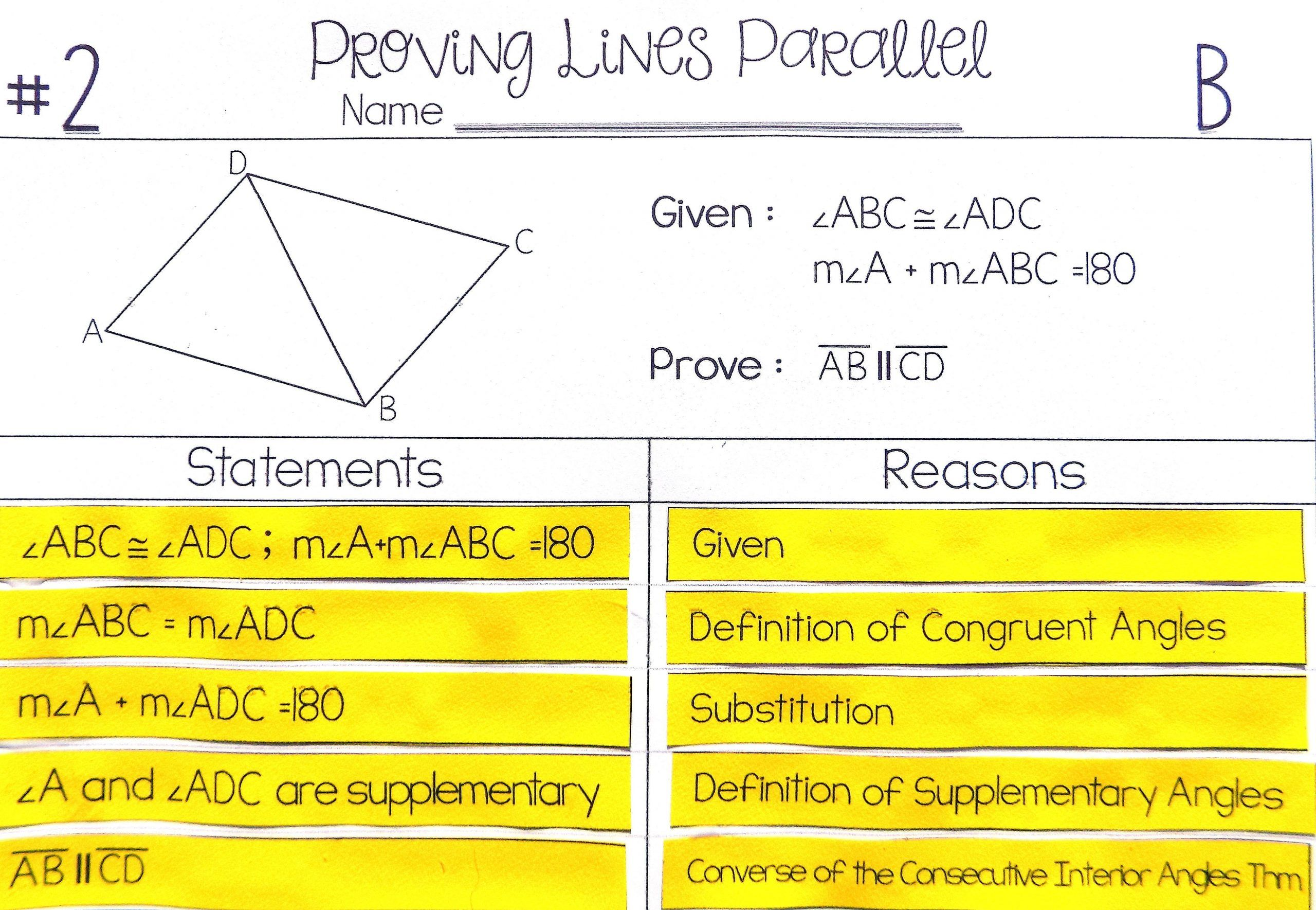 Parallel Lines Proofs Worksheet Answers Proving Lines Parallel Proof Activity High School Geometry In 2020 Geometry Proofs Geometry High School High School Activities