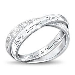 NameEngraved Sterling Silver Diamond Infinity Ring it