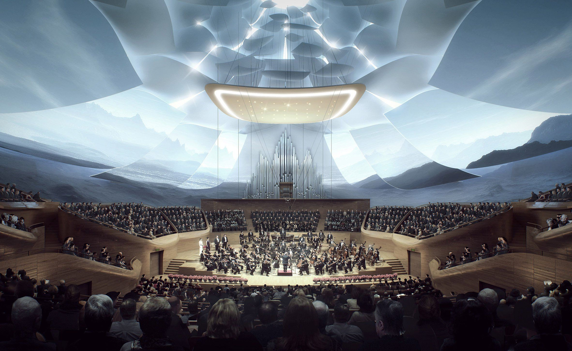 The interior of this concert hall will feature curving wooden walls and an adjustable sound reflection panel to optimise sound. This reflection panel, located behind the stage, can be raised to allow in natural light and views of the city.