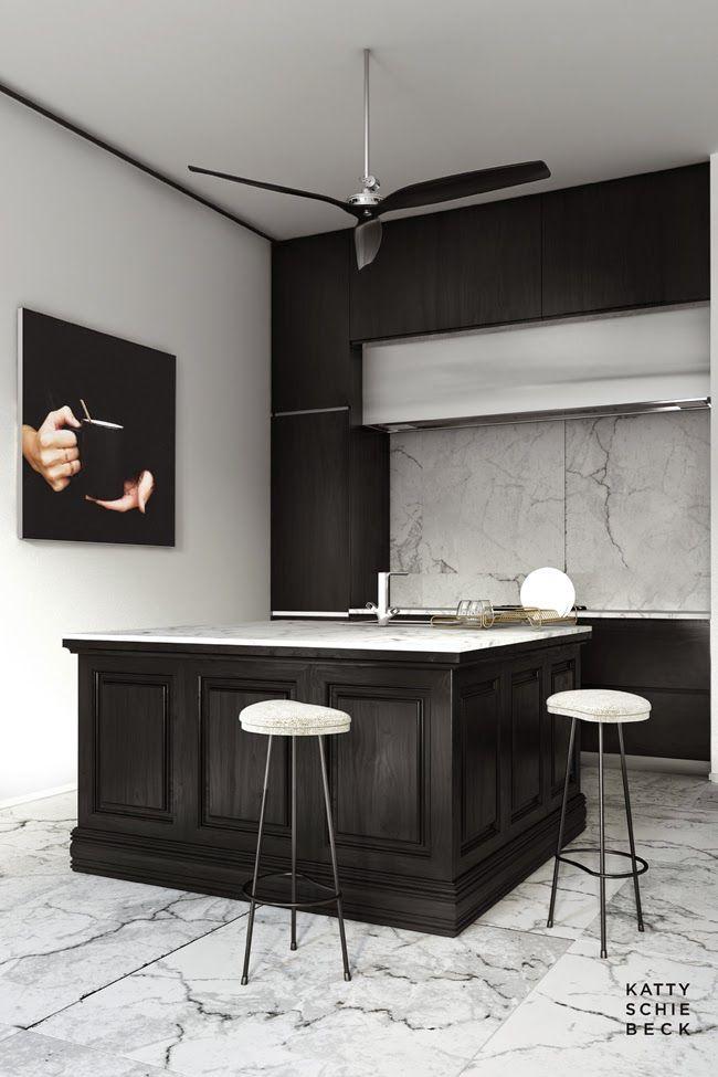Cocina decorado en madera negra contrastando con el blanco del ...