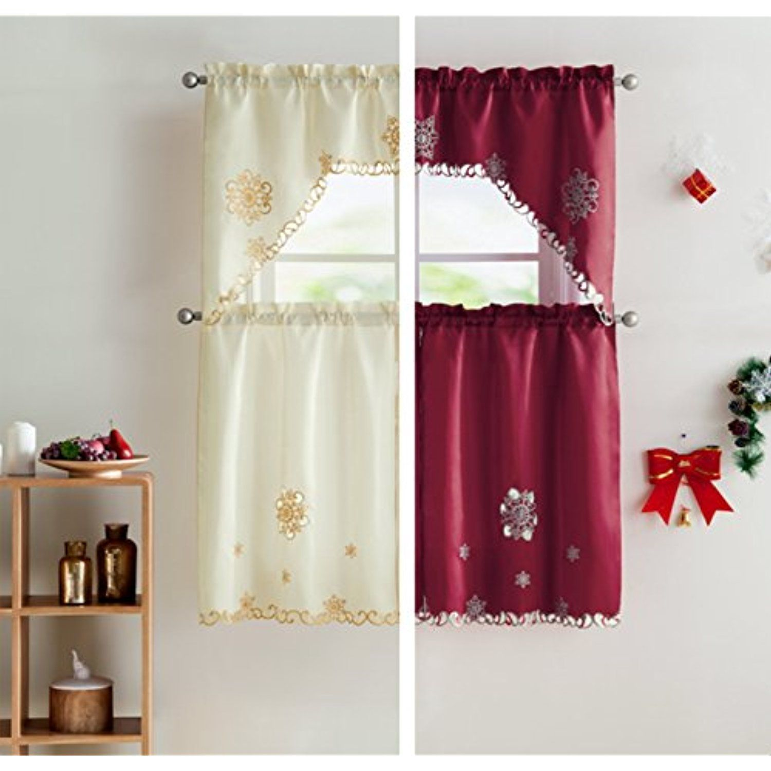Vcny home starburst christmas kitchen curtain tier homedcor