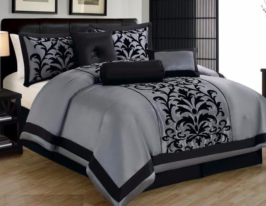 Best 21 Piece Gray Black Comforter Sheet Curtain Set Queen Size 400 x 300