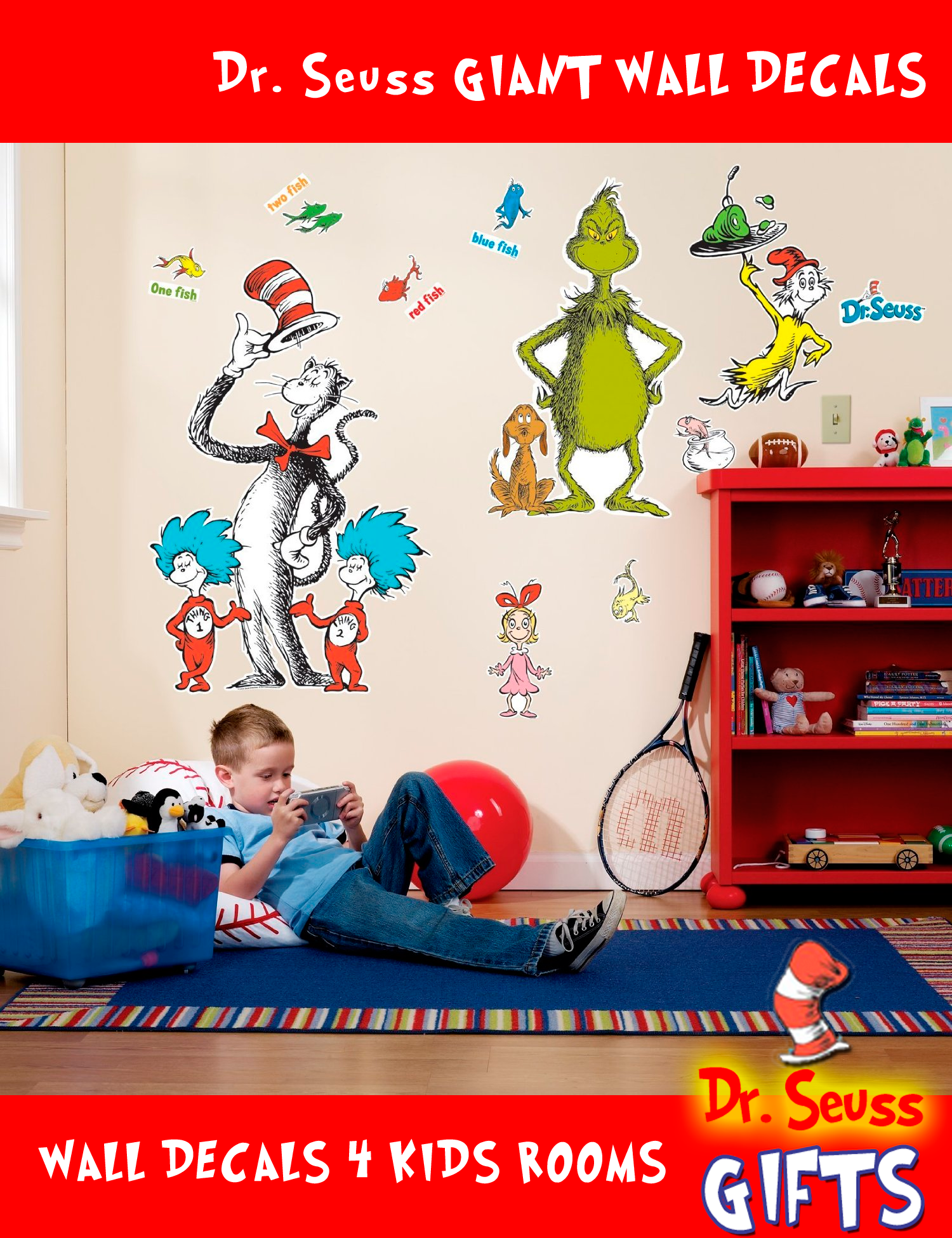Giant Wall Decals are great and so inexpensive. Once the baby furniture is home and are properly decorated in the nursery room, start visualizing how you can place your Giant Wall Decals. It will be best to arrange them in a manner where they kind of tell a story, like a famous scene or your favorite part of the story. #Dr. #Seuss #Wall #Decals #Gifts #Kids #Decorations #Giant #Grinch #Cat #Hat #Thing1 #Thing2  http://goo.gl/LbGtd $39.99
