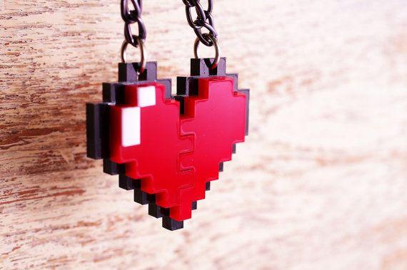 Pixel Herz Zelda Acryl Kunststoff Anhänger Halskette für paar und gamer 8-Bit Design für paar und gamer on Etsy, 8,56€