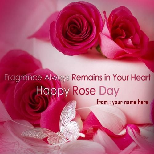 print name on happy rose day red color rose picture. create name ...