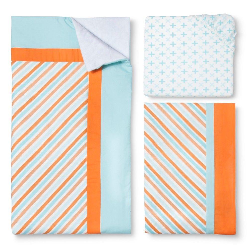 My Baby Sam Penny Lane 3-Piece Bedding Set, Blue/Orange Sorbet