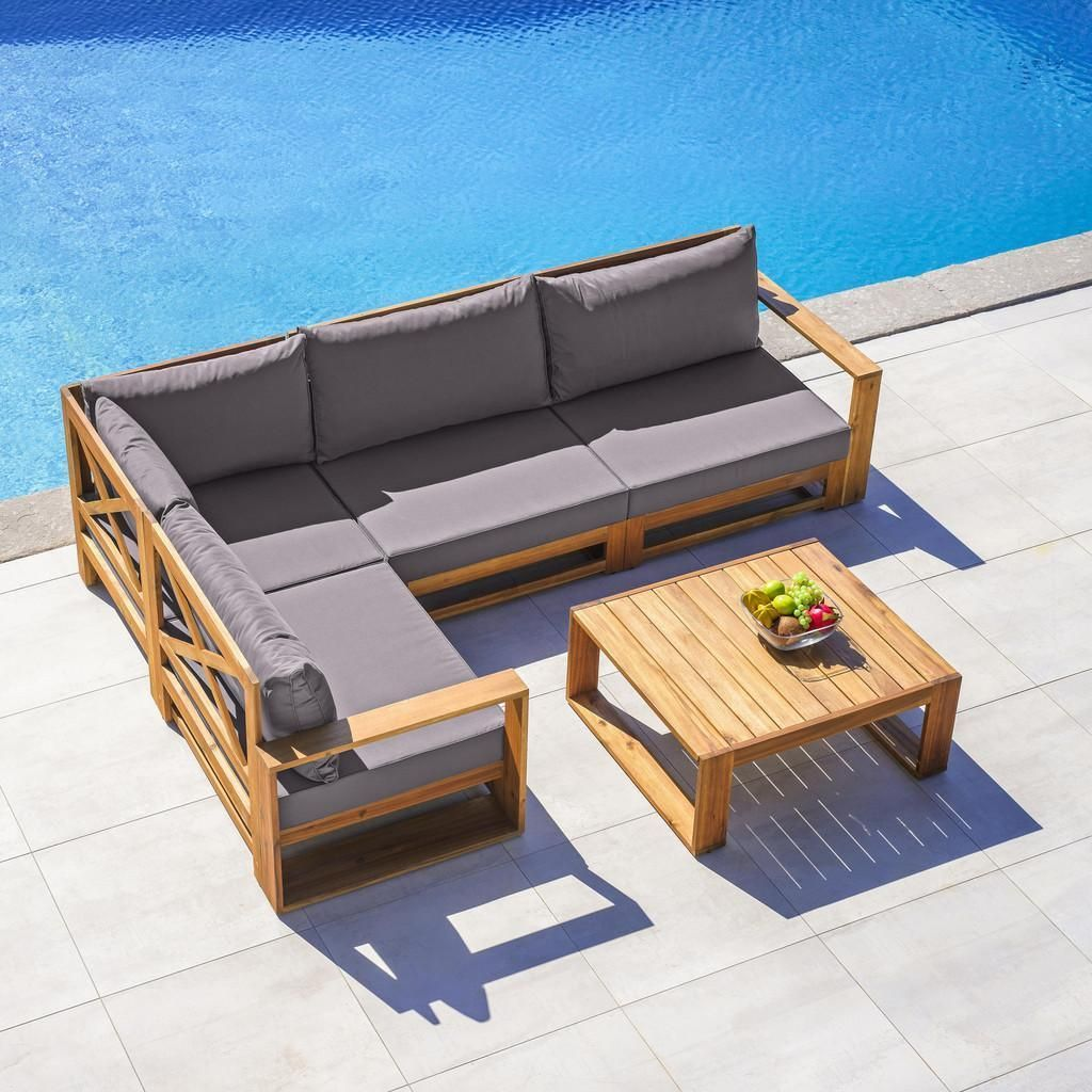 Loungegarnitur Kerry Aus Akazienholz Dunkelgrau Akaziefarben Modern Holz Textil Modern Living Lounge Garnitur Outdoor Sofa Terrassengestaltung