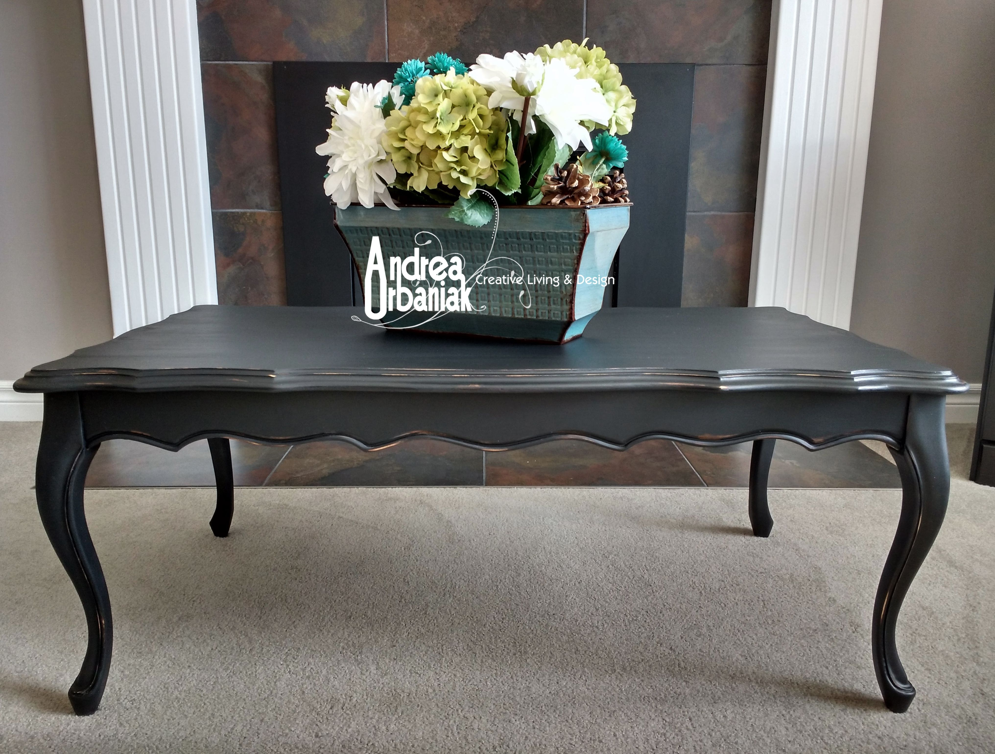 Repainted Vintage Matte Black Coffee Table Painted With Lamp Black Milk Paint By General Finishes Pretty Furniture Painted Table Painted Coffee Tables