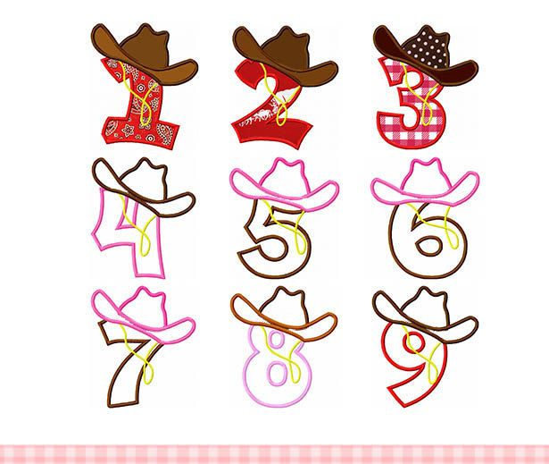 1156e38026678 Embroidery design Cowboy hat numbers set Machine Embroidery Applique ...