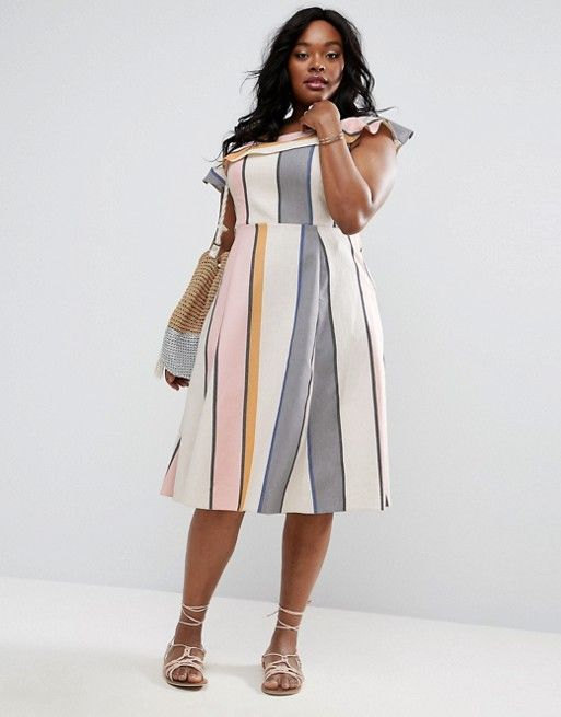 fc6e3fbc50c ASOS CURVE One Shoulder Stripe Midi Sundress