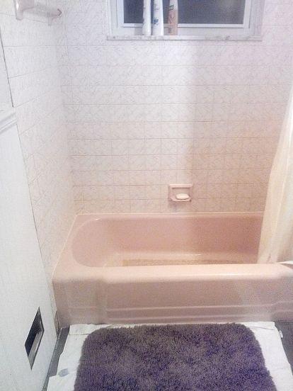 Renovated 1957 Pink Bathroom To Rustic Modern Pink Master Bathroom Pink Tub Pink Bathroom