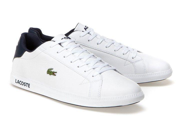 superior quality 65fdd e61c6 Sneakers basses Graduate Lacoste en cuir avec semelle marquée Lacoste prix  Baskets homme Lacoste 89.00 €