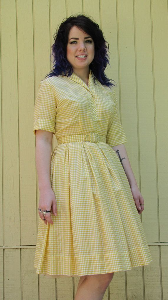 00cadf1ef0b32 Vintage 50s day dress// Yellow shirt dress// Summer | My Style ...