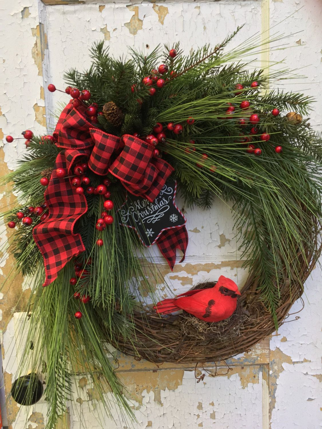 christmas wreath for door cardinal wreath holiday wreath etsy christmas wreath by flowerpowerohio - Christmas Wreaths Etsy