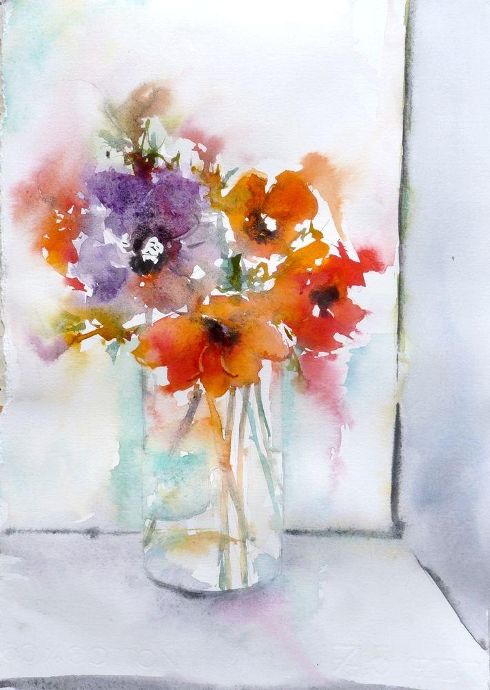 Aquarelle Originale Iris Violet Des Jardins Peinture Fleur