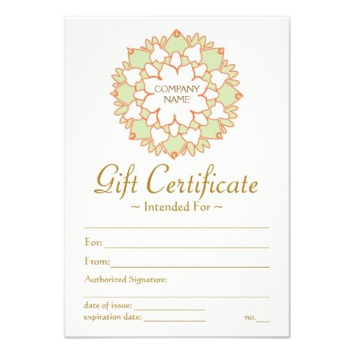 Lotus Healing Arts Printed Gift Certificate Template Click To