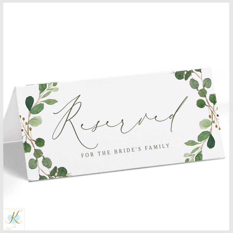 Tent Name Card Template Word Awesome Reserved Sign Template Hanging Or Tent Eucalyptus Leaves Card Template Sign Templates Pop Up Card Templates