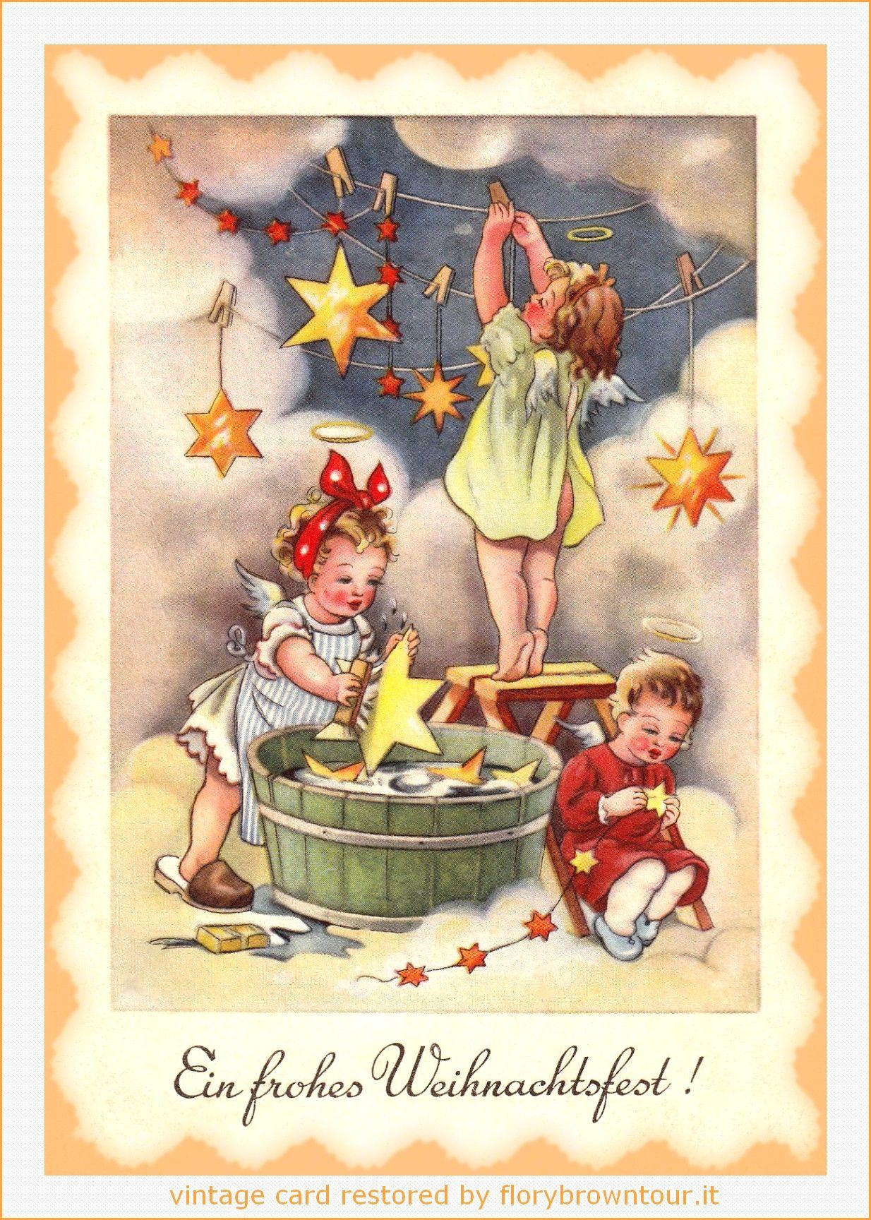 Auguri Buon Natale In Tedesco.Cartolina Di Buon Natale Tedesca Con Angeli E Stelle Dorate Postcard Of Merry Christ Biglietti Di Natale Vintage Illustrazione Di Natale Immagini Di Natale