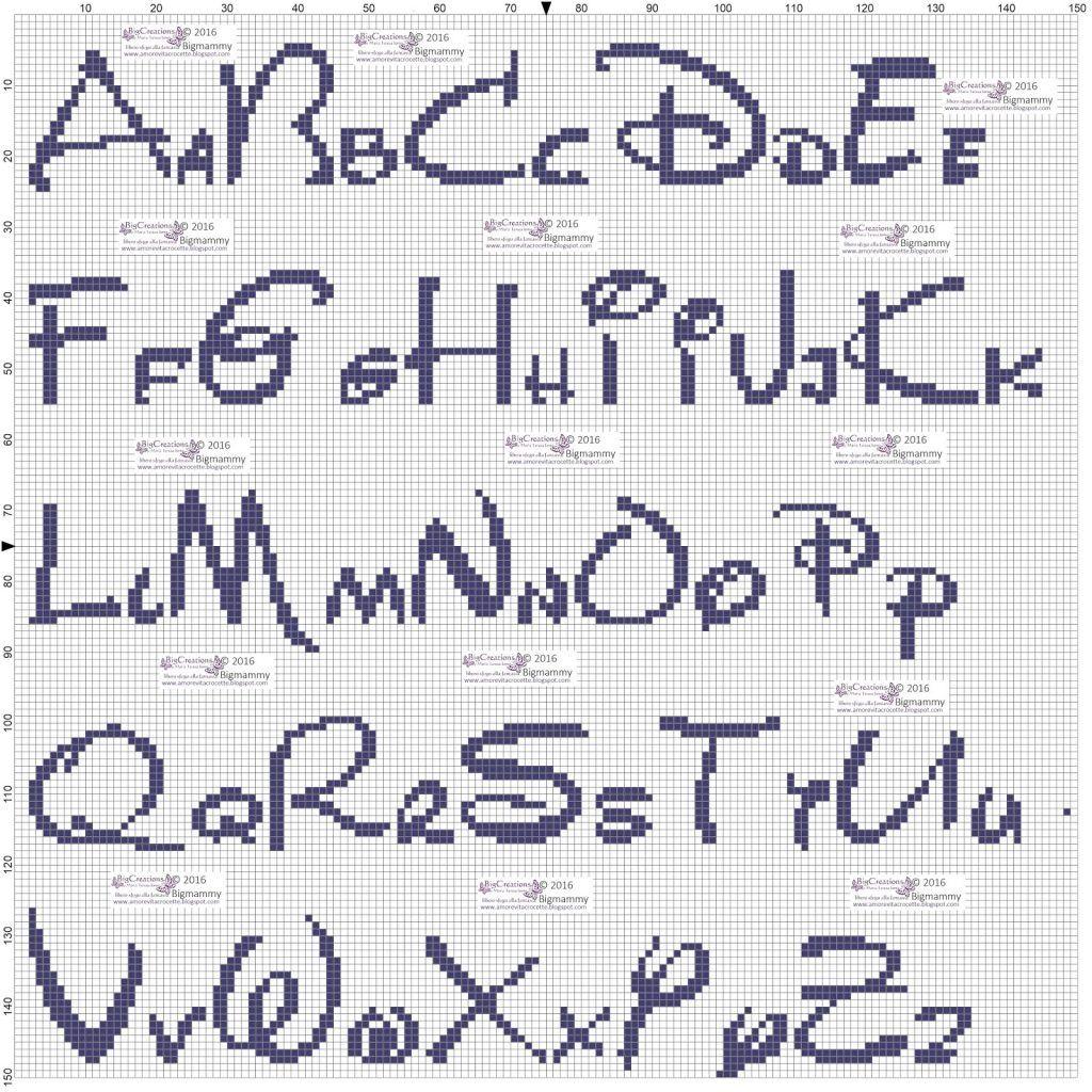 Lettere Punto Croce Corsivo Schema Punto Croce Alfabeto Corsivo