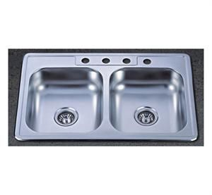 33 Stainless Steel Topmount Double Bowl Sink 50 50 Overall Dimensions 33 X 19 X 9 Left Bow Double Bowl Kitchen Sink Stainless Steel Kitchen Sink Sink